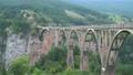 Tara canyon Durdevica bridge above Tara river. Montenegro. stock video 60931230