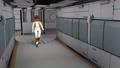 Space cyborg trooper walking in sci-fi corridor. 60956787
