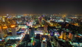 time lapse of Bangkok city downtown and road traffic at night in Thailand , Cityscape 61211849