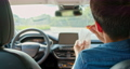 back view of asian man riding an autonomous self driving 61239844
