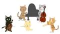 猫のコンサート。猫が歌を歌ったり楽器を演奏している。 61370820