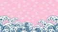 파도 앞에 벚꽃이 흩 날리는 일러스트 61432149