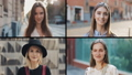 Smiling beautiful woman looking at camera. Split screen collage, Multi Screen. Summer time 61655144