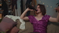 Drunky man transgender in fashionable dress sitting on sofa at home and smoking cigarette. Man 61655145