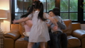 Holiday concept. Children running to hug parents in the living room. 4k Resolution. 61693075