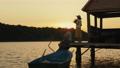 Family resting, enjoying the sunset 61869143