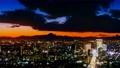 東京2020年富士山和澀谷的日落夜景長時間拍攝可提供激光束卡拉膠 61920532