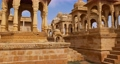 Bada bagh cenotaphs (Hindu tomb mausoleum) made of sandstone in Indian Thar desert. Jaisalmer, Rajasthan, India 62467379
