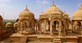 Bada bagh cenotaphs (Hindu tomb mausoleum) made of sandstone in Indian Thar desert. Jaisalmer, Rajasthan, India 62467700