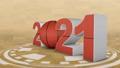basketball ball and volumetric inscription 2021. 3d render. 62548751
