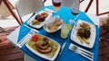 three servings and drinks at a Greek restaurant. 62567103
