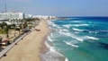 Drone view of blue sea water with waves and beaches in protaras with hotel resorts, Cyprus 62772133