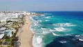 Drone view of blue sea water with waves and beaches in protaras with hotel resorts, Cyprus 62772134