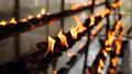 Closeup FullHD video of burning oil lamps in the buddhist temple on Sri Lanka 62896142
