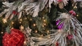 Panning view of the Christmas tree with decorations 63093450