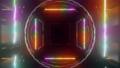 futuristic neon tunnel 3d render animation 63107646