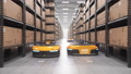Autonomous robots moving shelves in automated warehouse. Seamless looping POV shot 63161374