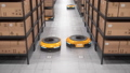 Autonomous robots moving shelves in automated warehouse. Seamless looping 63161376