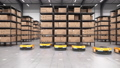 Row of autonomous robots start to move shelves or racks in automated warehouse 63161378