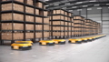 Row of autonomous robots start to move shelves or racks in automated warehouse 63161380