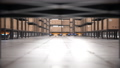 Autonomous robot lifts rack and moves it off screen in automated warehouse 63161381