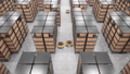 Autonomous robots moving shelves in automated warehouse. Seamless looping aerial shot 63161382