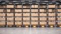 Row of autonomous robots move racks in automated warehouse, seamless loop 63161383