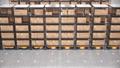 Row of autonomous robots move racks in automated warehouse, seamless loop 63161384