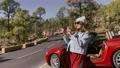 Woman enjoying road trip on nature 63173685