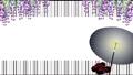 藤の花と番傘に赤い鼻緒の下駄のイラストと格子の背景舞う花びらのループ動画 63206326