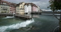 Old dam Nadelwehr in the center of the old town of Lucerne on the Reuss river, Switzerland 63224775