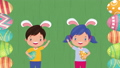 happy easter animated card with little kids and eggs painted 63278882