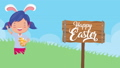 happy easter animated card with little girl using rabbit ears 63278884