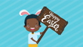 happy easter animated card with afro little boy using rabbit ears 63278885