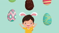 happy easter animated card with little boy using rabbit ears 63278887