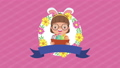happy easter animated card with little girl using rabbit ears 63278889