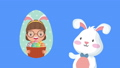 happy easter animated card with little girl and rabbit 63278890