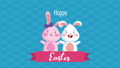 happy easter animated card with cute rabbits couple 63278891