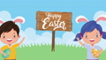 happy easter animated card with little kids and eggs painted 63278893