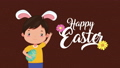 happy easter animated card with little boy using rabbit ears 63278897