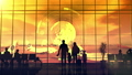 Silhouettes of travelers at the airport at sunset. 63494450
