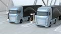 ソーラーパネルが備えている充電ステーションに充電している電動トラックのアニメーション 63693490