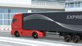 高速道路のカーブを通過する大型電動トラック 63693495