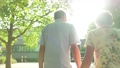Active senior caucasian tourist couple walking in london backlit by the sun 63711677