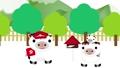 可愛い牛の郵便屋さんが可愛いうしの親子のポストへ年賀状を届けるアニメーションループ動画 64514472