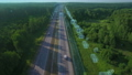 Logistics, delivery and transport of goods and parcels by means of transport, van and truck. Aerial view on highway with cars and infographic. 64655491