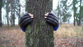 Young man in boxing gloves is hugging tree in forest and loving nature. Hands of adult caucasian 64714163