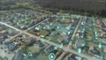 Aerial view of classica European housing estate with big data network Technology. Connecting futuristic network, IoT technology. Internet of things, Smart cities, big data, augmented reality. 64874723