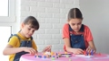 Two girls enthusiastically play a board game at home 64925600