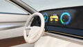 Digital dashboard of an electric sports car. Various information is displayed on the horizontal large screen. 65068770